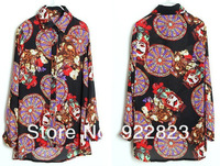 2014 New Arrival Special Offer Europe Style Flower Printing Long Sleeve Chiffon Women's Shirt Shipping Wholesale And Retail 623
