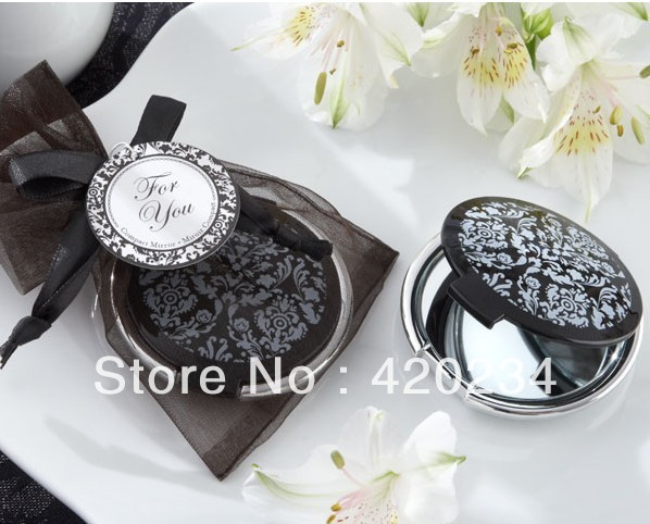 Wholesale - Reflections Elegant Black-and-White Mirror Compact centerpieces wedding favors party favors gift(China (Mainland))