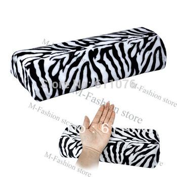 New Zebra Stripe Soft Hand Cushion Pillow Rest for Nail Art Manicure Half Column Free Shipping 4905