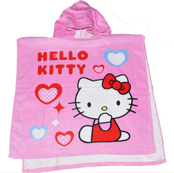 Free shipping hello kitty pattern 100% cotton material bath towel for baby % kids with a hat on it