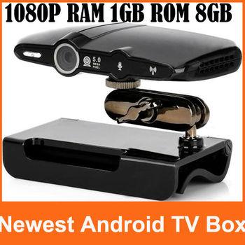 Newest EU2000 5.0MP Mic Android TV Box Camera HDMI 1080P RAM 1GB ROM 8GB Android 4.0.4 Skype Google Android TV Box Free Shipping