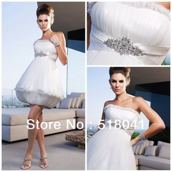 2013 New Arrival a-line strapless beading tulle mini length white sexy short wedding dresses wd210(China (Mainland))