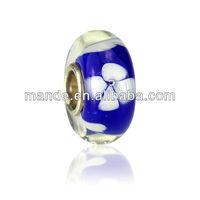 2013 round shaped blue 925 silver hole lampworked glass beads,custom beads china wholesale