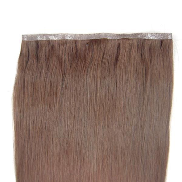 "20"" length 55cm wide PU Silky Straight weaves hair Skin Weft Hair Extension 55g #04 medium Brown(China (Mainland))"