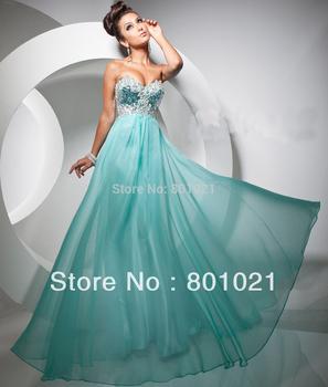 Fresh Looking Sweetheart Jeweled Bodice Chiffon Long Hot sale 2013 Evening Prom Dress
