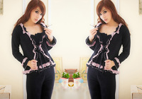 In the spring of 2013 new female leisure wear sexy lace three-piece cotton long sleeve pajamas