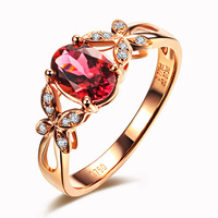 ZOCAI ZODIAC GEM FIRE SIGNS BUTTERFLY CONCERTO 0.77CT RUBELLITE RED TOURMALINE DIAMOND RING OVAL CUT 18K ROSE GOLD