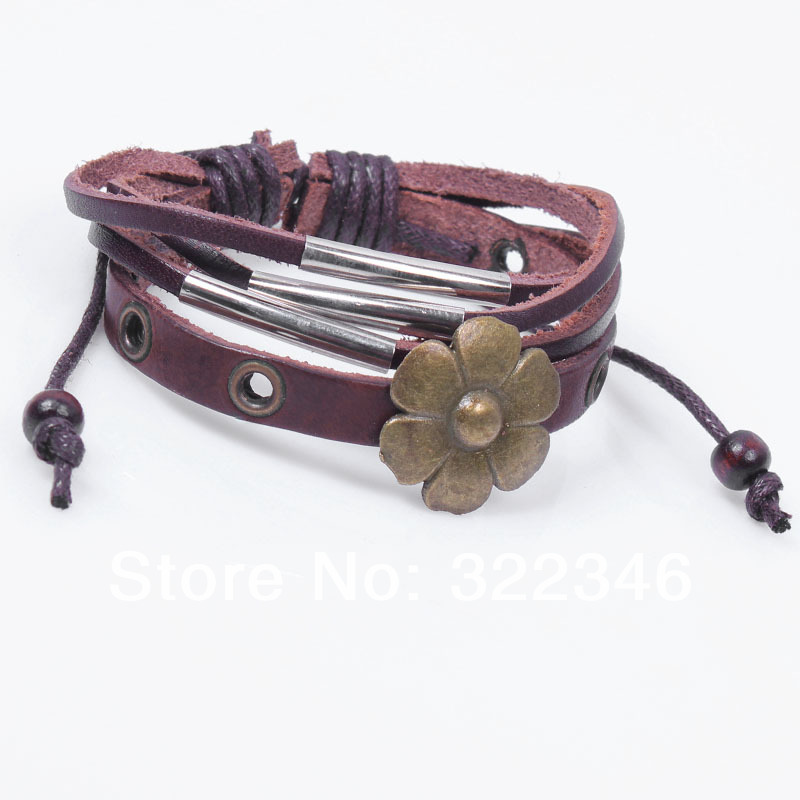 2013 New Hot Sale Punk Bracelet For Women,Flower Metal Leather Bracelet,One Direction Bracelet,Handmade 3 Layers Punk Bracelet(China (Mainland))