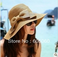 Female fashion hat big along the cap beach cap sunbonnet sun hat summer women's strawhat bow free shipping