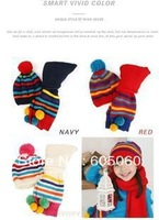 Free shippng Stripe child hat scarf set plus velvet child cap sleeve