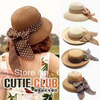 Free shipping Summer sunscreen large along the cap women's straw braid hat beach cap sun-shading fedoras bucket hats bucket hat