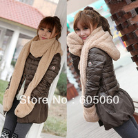Free shipping 2013 autumn and winter plush scarf thickening thermal muffler scarf hat gloves one piece set