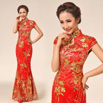 2013 bride cheongsam evening dress fashion vintage long design married cheongsam red spring and summer wedding dress