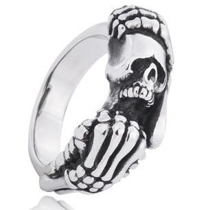 Gothic punk retro titanium steel ring Thai silver skull ring men collect necessary jewelry accessories hot sales