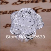 Italina gift free shipping  925 silver wholesale jewelry sweet  cute three flower ring modern female love R38