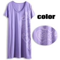 Women's short-sleeve nightgown female summer sleepwear purple paper-cut art plus size plus size sleepwear nightgown  dress robe