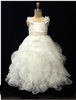 2013 girls pageant dresses Flower New Arrival Alfred Flower Girl Dresses Beautiful Ball Gown Ruffles Spaghetti White Organza