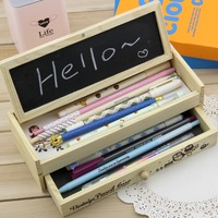 Wool drawer pencil box primary school students multifunctional stationery box big capacity pencil case