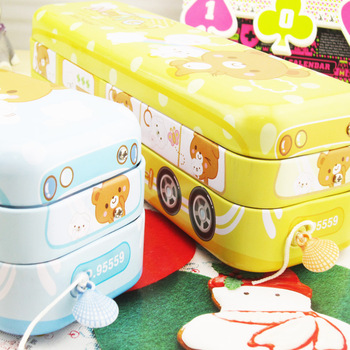 Lackadaisical 95559 cartoon student stationery bus car multifunctional tin pencil box