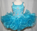 2013 girls pageant dresses Flower  Lovely short mini spaghetti strap beaded toddlers flower girl's dress pageant dress gown