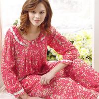 Spring and autumn sleepwear female at home service women's sleepwear 100% long-sleeve cotton sleep 100% cotton lounge set