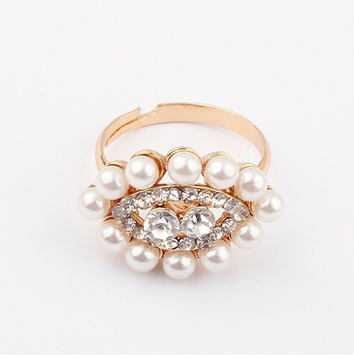 Min.order is $10 (mix order) R346 Fashion Korea personality imitation-pearl eye Rings jewelry ! !Free shipping! cRYSTAL sHOP(China (Mainland))