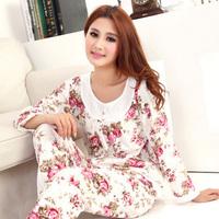 O-neck pullover sleepwear women's long sleeve length pants sleepwear 100% cotton set lounge female 100% cotton spring and autumn