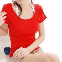 Free shippingBasic t605 short-sleeve shirt double u basic shirt low collar two circle short-sleeve basiwomen's track suitc shirt