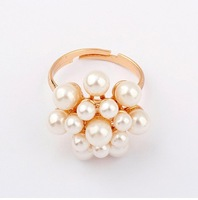 Min.order is $10 (mix order) 22D20 Fashion Korea luxury imitation-pearl flower Rings jewelry ! !Free shipping! cRYSTAL sHOP