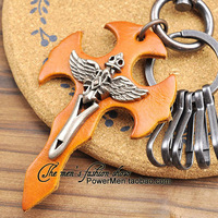Genuine leather male car hangings keychain punk leather card cross gift