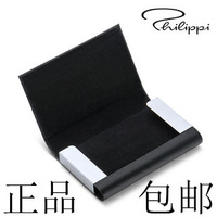 Genuine leather card stock business card box philippi stainless steel male women's business gift