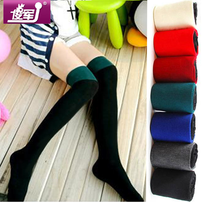 Free shipping Autumn and winter candy color female socks set high stockings over-the-knee socks 2pairs/lot(China (Mainland))