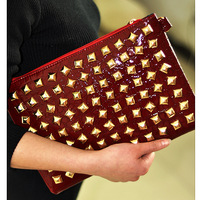 Queen 2013 punk rivet day clutch bag envelope bag shoulder bag cross-body women's handbag