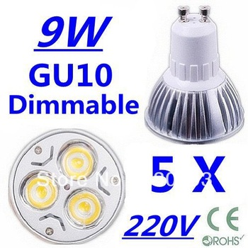 5X High power CREE GU10 3x3W 9W 220V Dimmable Light lamp Bulb LED Downlight Led Bulb Warm/Pure/Cool White