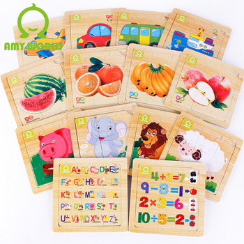 Educational  Baby Learning Toys Wooden Children Alphabet Lion Plane Car Bus Infant Orange Banana Animal Fruit Cartoon Puzzle DIY