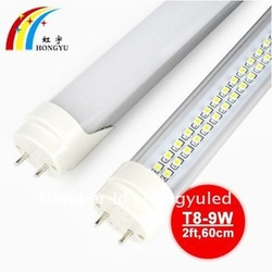2 feet T8 LED fluorescent tube 9W 144LEDS(smd3528) 60cm G13 FREE shipping(China (Mainland))