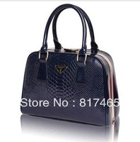 2013 New Arrival Handbag for Women Patent Leather Bag Crocodile Texture Luxury Designer Bag Evening Vintage Solid Bag