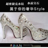 luxury wedding shoes crystal heels shoes Crystal shoes Crystal pums