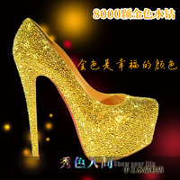 Handmade wedding shoes performance shoes high heel formal dress shoes gold rhinestone crystal shoes party shoes