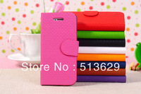 10pcs Mixed colors PU leather case flip holster wallet case cove pouches for iphone 5 free shipping