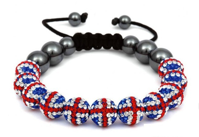 Flag Shamballa bracelets knitted 11 goals in global sales of accessories(China (Mainland))