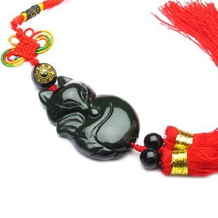 Chinese style good luck jewelry Obsidian fox pendant package linked to car hanging peach blossom anti lilliputian(China (Mainland))