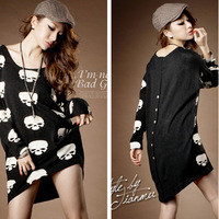 Spring 2013 female long-sleeve basic shirt mm spring skull loose plus size long design t-shirt