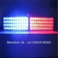 Free Shipping Red & Blue 96 LEDs Vehicle Strobe Flash Emergency Lights for Front Grille/ Deck   DC 12V
