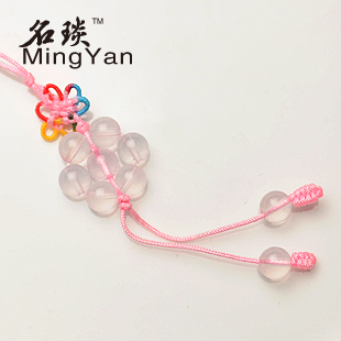 Fashion jewelry small pendant pink crystal ice powder seven array mobile phone chain dr. peach MY0288 drop shipping