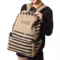 2014 New Fashion preppy style stripe pattern women backpacks student school backpack female vintage canvas bag free shipping
