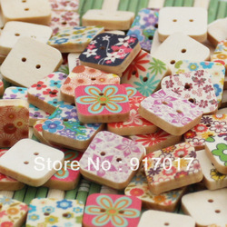 Free Shipping 200pcs Mixed Multicolour square drawing button(F1501X15) wood button clothing buttons log decoration buckle craft(China (Mainland))