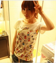 2013 new summer Korean short-sleeved color code Q childlike expression cute cartoon pattern white T-shirt C226(China (Mainland))