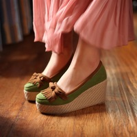 2013 spring single shoes scrub shallow mouth bow tassel female wedges platform shoes