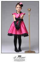 New 2013 red/pink princess formal dress for girls western short-sleeve party dresses